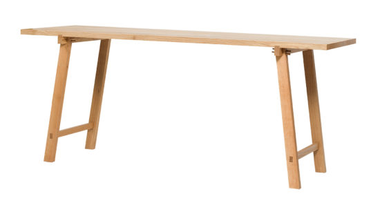 solid oak high table. Feet can be disassembled or switched to have a dining table.